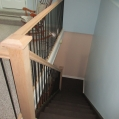 Stained to client specifications with new wrought iron and oak railings installed
